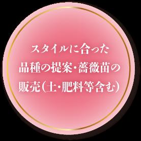 スタイルに合った品種の提案・薔薇苗の販売(土・肥料等含む)